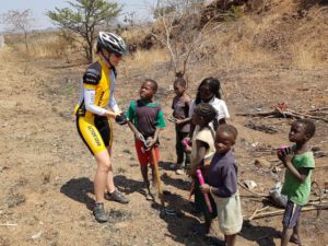 Cam giving out some toys to some local Zambian kids on the side of the road.