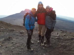 Gareth, Warrick and Cam at sunrise on Mount Kilimanjaro