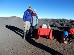 Surprise cake and champagne for the Kernes Anniversary at the summit of Mount Kilimanjaro